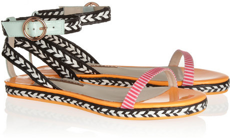 Webster Sophia Bea patent-leather and raffia sandals