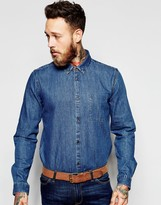 Dr Denim Mick Regular Denim Shirt Mid Wash Blue