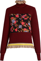 MSGM Striped floral ruffled-hem sweater