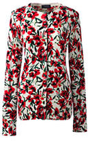Lands' End Women's Classic Supima Print Cardigan Sweater-Jewel Plum Windowpane