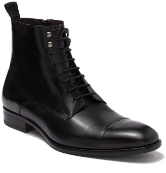 Mezlan Leather Cap Toe Lace Up Boot