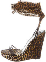 Dolce & Gabbana Leopard Print Wedge Sandals