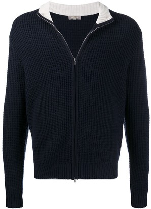 N.Peal Waffle Knit Zip-Up Jumper