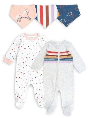 M·A·C Mac & Moon Baby Girl's 5-Piece Rainbow Prints Eat-Sleep-Play Bundle Set