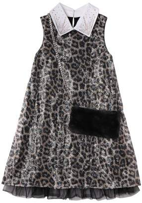 Beautees Big Girls' Sequin Leopard Print Sheath Party Dressy Dress With Purse, 2-Piece