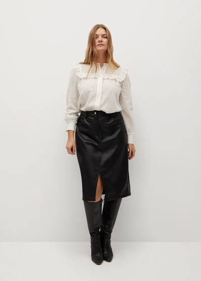 MANGO Cut-out faux-leather skirt