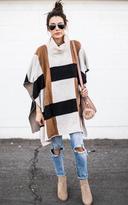 Ily Couture Color Block Cowl Neck Poncho