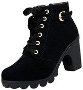 Gleader Women platform high heel single shoes vintage Motorcycle Boots Martin Boots