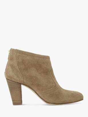 Dune Penney's Suede Western Stacked Heeled Boots, Taupe