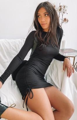 Beginning Boutique Shaunie Drawstring Dress Black