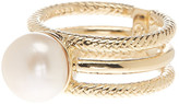 Cole Haan Textured Cutout Freshwater Pearl Ring - Size 7