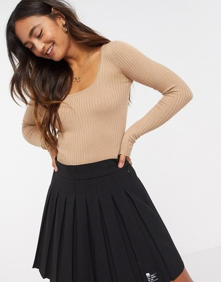 Brave Soul square neck knitted top in biscuit