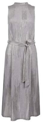 Dorothy Perkins Womens Grey Shimmer High Neck Midi Dress