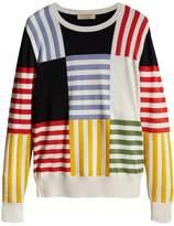 Burberry striped intarsia cashmere cotton sweater