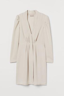 H&M Puff-sleeved Jacket Dress - Beige