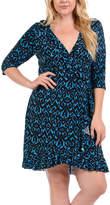 Bellino Blue & Black Abstract Ruffled V-Neck Dress - Plus