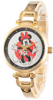 Disney Princess Disney Minnie Mouse Womens Gold Tone Bracelet Watch-W002809 Family