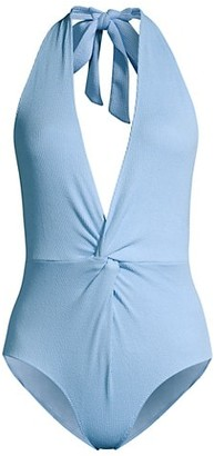 Ganni Recycled Fabric Textured Chambray One-Piece Swimsuit
