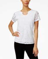 Alfred Dunner Petite Garden Party Lace Split-Neck Top