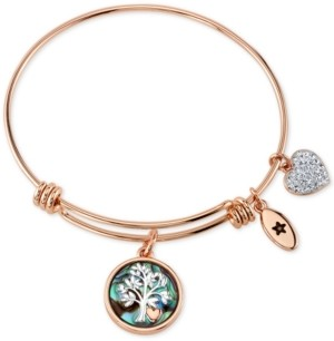 Unwritten Family Tree Inlay Charm Bangle Stainless Steel Bracelet in Rose Gold-Tone with Silver Plated Charms