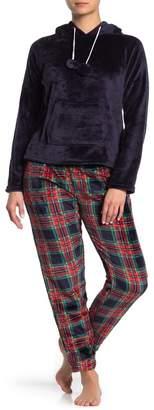 YOUMITA Two Piece Hoodie Flannel Pajama Set
