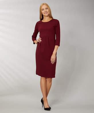 Vky & Co VKY & CO Women's Career Dresses RUST - Rust Crepe-Knit Scoop Neck Midi Sheath Dress - Women & Plus