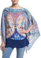 Etro Floral Silk Poncho, Blue/Pink
