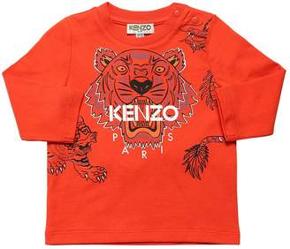 Kenzo TIGER PRINT L/S COTTON JERSEY T-SHIRT