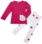 Orangeskycn New Kids Girl Long Sleeve Cartoon Cat Shirt Pant Suit (3-4Y, )