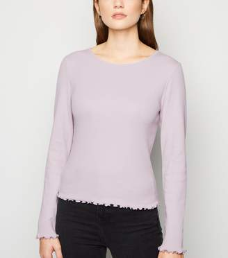 New Look Bright Frill Ribbed Long Sleeve Top
