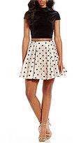 Jodi Kristopher Velvet Flocked-Dot Two-Piece Dress