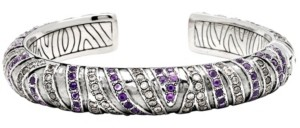 Devata Asian Tiger Signature Sterling Silver Bracelet embellished by Amethyst and White Cubic Zirconia
