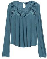 Lucky Brand Women's Lace & Velvet Yoke Top