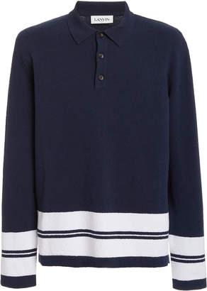 Lanvin Striped Cotton-Blend Polo Shirt