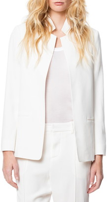 Zadig & Voltaire Volly Inverted Notch Collar Crepe Satin Jacket