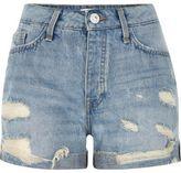 River Island Womens Mid blue wash ripped boyfriend denim shorts