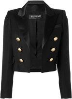 Balmain open front cropped blazer - women - Silk/Cotton/Polyester/Viscose - 38