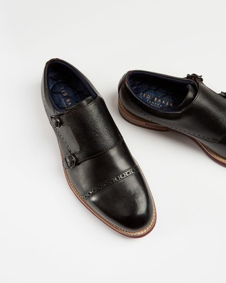 Ted Baker Double Buckle Leather Monk Shoes