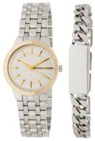 DKNY Women's Park Slope ID Bracelet & Two-Tone Watch Set