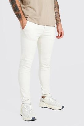 boohoo Mens Beige Super Skinny Chino Trouser, Beige