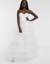 Bardot Dolly & Delicious tiered full prom maxi dress in polka dot