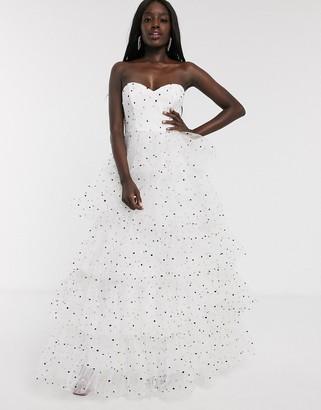 Dolly & Delicious bardot tiered full prom maxi dress in polka dot