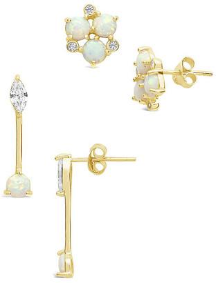 Sterling Forever 14K Over Silver Opal & Cz Earrings
