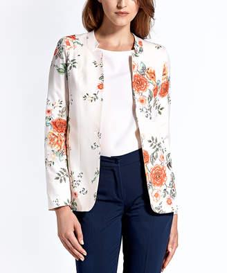 Colett Women's Non-Denim Casual Jackets flowers_ecru - Ecru Floral Notch Lapel Open Blazer - Women