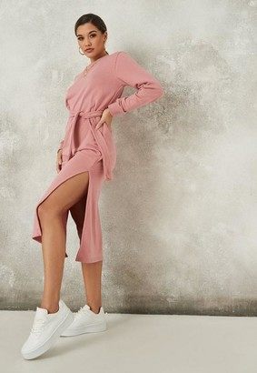 Missguided Blush Basic Tie Belt Midi Sweater Dress