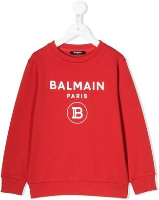 Balmain Kids Logo Print Crew Neck Sweatshirt