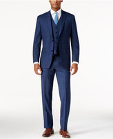 MICHAEL Michael Kors Men's Classic-Fit High Blue Plaid Vested Suit