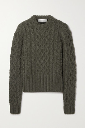 Michael Kors Collection Corallina Cable-knit Cashmere Sweater - Army green