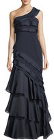 Aidan Mattox Asymmetric One-Shoulder Tiered Evening Gown