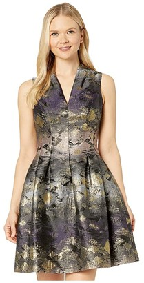 Vince Camuto Jacquard Fit-and-Flare w/ Fold-Over V-Neck (Black Multi) Women's Dress